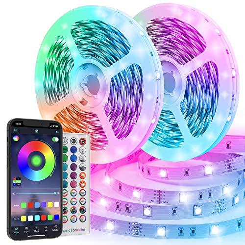 TVLIVE Luces LED RGB 20M, Tiras led SMD 5050 600 Leds, Luces led Habitación 3 Modos de Controlar Sincronización Musical Tira de luz led Tira led de Colores para Decoración Bar Dormitorio Salón TV