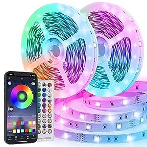 Luces LED RGB 20M, TVLIVE Tiras led SMD 5050 600 LEDs, Luces led Habitación 3 Modos de Controlar Sincronización Musical Tira de luz led Tira led de Colores Para Decoración Bar Dormitorio Salón TV