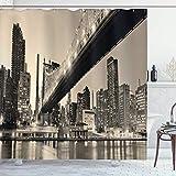 New York Duschvorhang,Queensboro Bridge NYC Nacht Sepia Artprints Urban City View Modernes Leben Thema,Stoff Stoff Badezimmer Dekor Set mit,Braun Grau mit 12 Kunststoffhaken 180x210cm