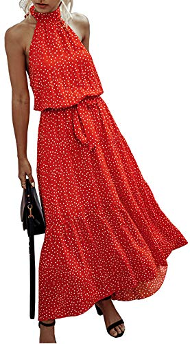 PRETTYGARDEN Women's Casual Halter Neck Sleeveless Floral Long Maxi Dress Backless Loose Ruffle Sundress with Belt Red