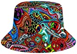 NA Fashion - Sombrero de pescador plegable reversible con diseño de girasol, muchos patrones, Mujer, Monstruo psicodélico floral, Talla única