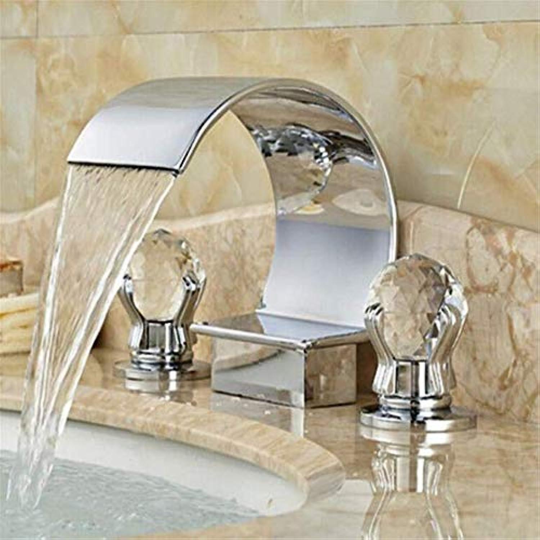 Messing Chrom Warmes und kaltes Wasserhahn Waschbecken Griffe Wasserfall Bad Becken Wasserhahn 3 Lcher 2 Griff Waschbecken Mischer