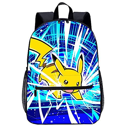 HYLLVC Sacs d'école populaires pour adolescents Pokemon Pikachu Sac pour ordinateur portable léger, adapté aux étudiants, adolescents, garçons et filles, voyages et camping