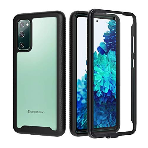 seacosmo Samsung Galaxy S20 FE Hülle, Stoßfest Cover S20 FE 360 Grad vollschutz Handyhülle Rugged Schutzhülle S20 FE mit eingebautem Bildschirmschutz, Schwarz