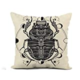 Awowee Flax Throw Pillow Cover Egyptian Scarab Symbol of Pharaoh Gods Ra Sun Tattoo 16x16 Inches Pillowcase Home Decor Square Cotton Linen Pillow Case Cushion Cover
