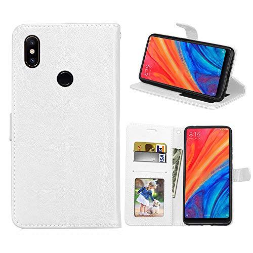 HOUSIM Capa Compatível com Xiaomi Mi Mix 2S, Cor sólida Couro PU Capa Magnético Protetora com Flip [Porta-Cartão] Capa de proteção à prova de choque - HODKS034231MFN Branco