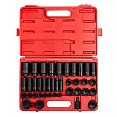 """Sunex 2668, 1/2 Inch Drive Master Impact Socket Set, 39-Piece, SAE, 3/8"""" - 1-1/2"""", Standard/Deep, Cr-Mo Steel, Heavy Duty Storage Case, Includes Universal Joint"""
