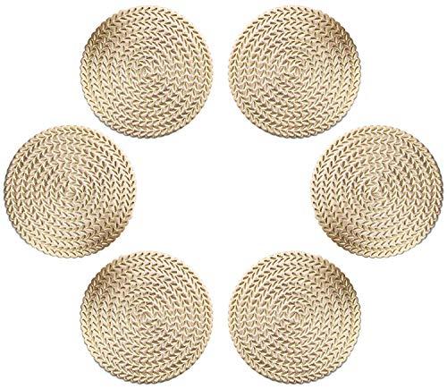 GlobalDream Untersetzer Teller, 6 Stück Untersetzer Gläser Tischset Rund Vinyl Hohl Platzsets Abwischbar PVC Tischuntersetzer für Küche, Zuhause, Speisetisch (Gold, 10 cm, C01)