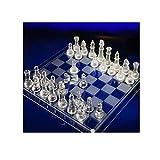 DYFYF Juego de ajedrez Tradicional de Vidrio Esmerilado con Tablero de Vidrio Transparente y Piezas de ajedrez de Vidrio Esmerilado y Transparente Regalo de Juego Divertido de Fiesta ( Size : M )