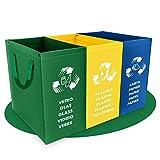 PTMS - Set Pattumiera per Differenziata - 3 Contenitori per Raccolta Differenziata per Vetro, Carta e Plastica in Colori Riciclaggio - Materiale Resistente 180g - Facile da Svuotare