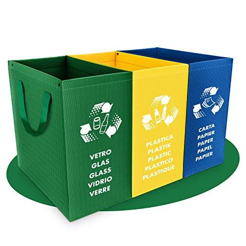 PTMS [Nuovo] Set Pattumiera per Differenziata - 3 Contenitori per Raccolta Differenziata per Vetro, Carta e Plastica in Colori Riciclaggio - Materiale Resistente 180g - Facile da Svuotare