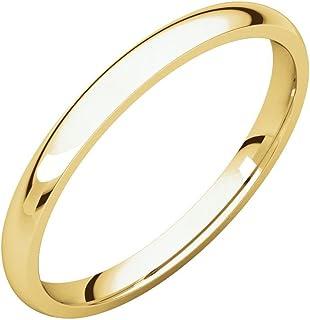 مجوهرات إف بي 14 قيراط ذهب أصفر 2.5 مم خفيف الراحة صالح للرجال خاتم الزفاف الفرقة