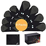 Reusable Menstrual Pads, MYSWEETY 8 Packs of Sanitary Napkins & Cloth Sanitary Towels with Bamboo Charcoal | Washable and Waterproof - Overnight Long Panty Liners for Comfort and Support