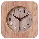 不二貿易 置き時計 幅10.2cm ナチュラル 天然木 スクエア ウッド 36696