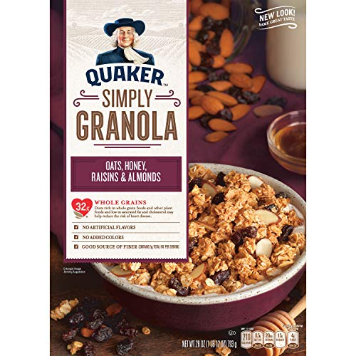 Quaker, Simply Granola Breakfast Cereal, Oats Honey Almonds & Raisins, 28 Oz