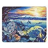 Delphin Meeresschildkröten Fische Korallen Ozean Meer Sonnenuntergang Rechteck rutschfeste Gummi Mousepad 30 * 25 * 0,3 cm Mauspads Matten Fall Abdeckung