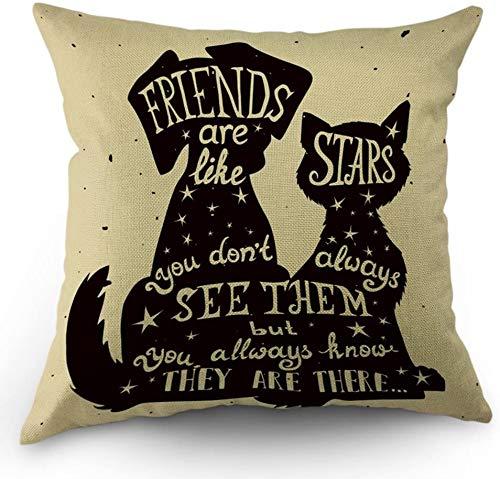 """Bester Freund Zitat Kissenbezüge Schwarzer Hund und Katze im Inneren Zitat Freunde sind wie Sterne Kissenbezüge 18\""""x 18\"""" Zoll Baumwolle Leinen Kissenbezug für Männer Frauen Schwarz Weiß"""