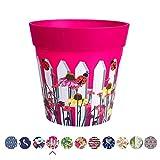 Hum Blumentöpfe, Gartenzaun, pink, Pflanztopf, Pflanzgefäß aus Kunststoff für drinnen und draußen, 22 x 22cm