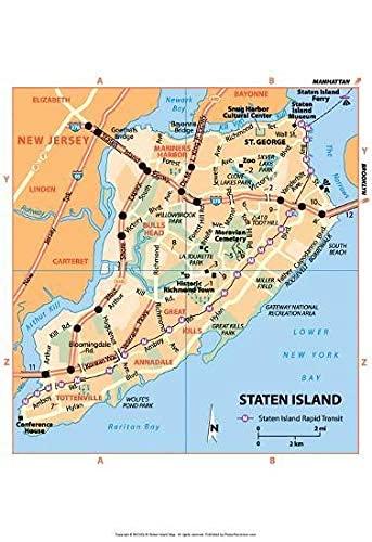 Sassy South Art Michelin Offizielle Staten Insel NYC Karte Kunstdruck Poster Poster Kein Frame Board für Büro-Dekor, Familie und Ihre Freunde 11,7 * 16,5 Zoll
