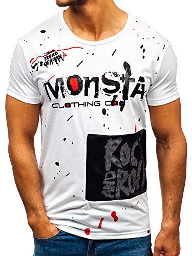 BOLF Hombre Camiseta de Manga Corta Escote Redondo Camiseta de Algodón Estampada Crew Neck Fitness Entrenamiento Estilo Diario J.Style KS1834 Blanco L [3C3]