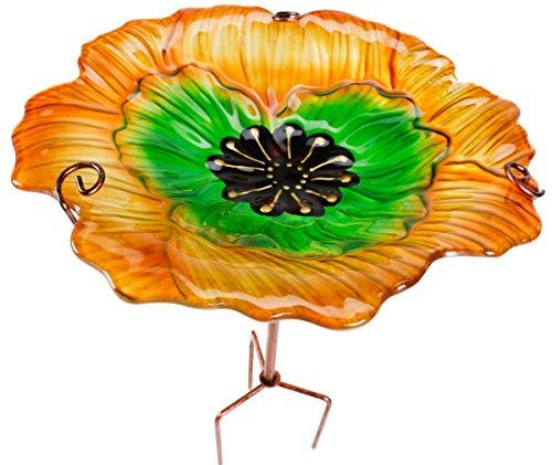 ArtiCasa Vogeltränke BZW. Vogelbad aus Glas und Eisen, freistehend und im Boden zu verankern, Höhenverstellbar, Größe (HxØ) ca. 64 x 31 cm, 3 Versionen (Orange/Grün)
