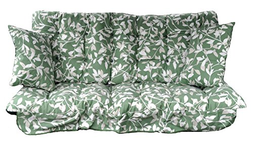 Garden Patio 3 Seater Replacement Swing Hammock Bench Cushion Set Glen Green Leaf Design