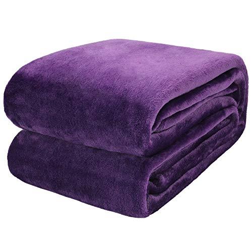 Coperta in pile di flanella Coperta da casa viola, soffice coperta, divano letto caldo e copriletto per animali domestici, coperta in pile di flanella viola comfort150X200CM