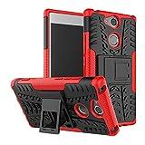 LFDZ Sony Xperia XA2 Funda, Soporte Cáscara de Doble Capa de Cubierta Protectora Heavy Duty Silicona híbrida Caso Cover Funda para Sony Xperia XA2 Smartphone(con 4 en 1 Regalo empaquetado),Rojo