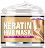 Keratin Hair Mask Natural Intensive Treatment - Made in USA - Effective Mask with Coconut Oil, Retinol & Aloe Vera - Moisturizing Anti Frizz Powerful Keratin Complex 8 oz