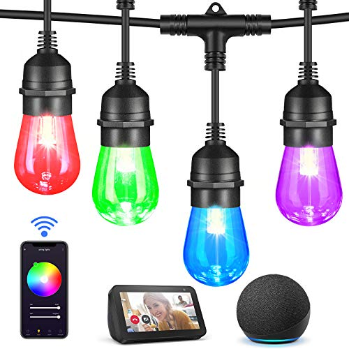 Mlambert 49Ft Outdoor RGB LED Smart String Lights 2.4GHz Wi-Fi, Compatible with Alexa, App Control with 15 LED Bulbs, IP65 Waterproof Shatterproof Colored Bistro Lights Dimmable Colorful Patio Lights