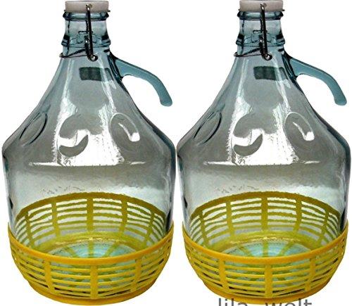 Unbekannt 2 STÜCK 5L Gärballon mit BÜGELVERSCHLUSS und Kunststoffkorb Flasche Glasballon Weinballon Bügelflasche Glasflasche