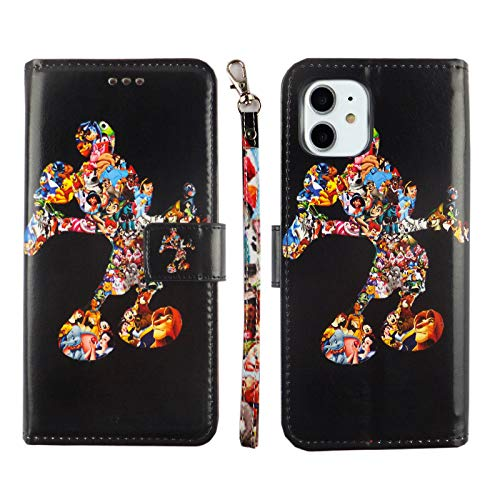 iPhone 11 Wallet Case Black Mickey Premium PU Leather Wallet Case with ID Credit Card Cash Slots Flip Stand Wrist Strap Cover Carrying Case Mickey Mouse for iPhone 11 6.1 inch