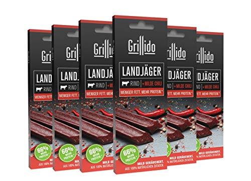 Grillido Landjäger I 6er Pack Rind & Chili I Die Beef-Jerky Alternative ohne Zucker | mit 40% Eiweiß und nur 9,7% Fett pro Landjäger