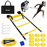 ZNCMRR Agility Ladder Speed Training Equipment Set, 20Ft Adjustable 12 Rung Workout Ladder, Running Speed Parachute and 10 Disc Cones for Football, Basketball, Baseball and Footwork Skills Training