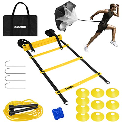 Speed Agility Training Set- Adjustable 12-Level Agility Ladder with Carrying Bag, Resistance Parachute, 10 Disc Cones, Used for Training Soccer, Hockey & Basketball, Improving Strength and Speed