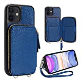 iPhone 11 Wallet Case,iPhone 11 Card Holder Case,ZVE iPhone 11 Case with Credit Card Holder Slot Zipper Handbag Purse with Wrist Strap Protective Leather Case for Apple iPhone 11 6.1'' -Navy Blue