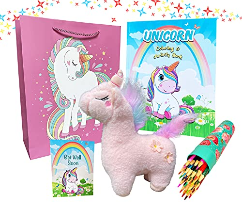 Unicorn Get Well Soon Gifts for Kids – Unicorn Coloring and Activity Book, Unicorn Stuffed Animal, Coloring Pencils, Get Well Soon Card and Unicorn Gift Bag