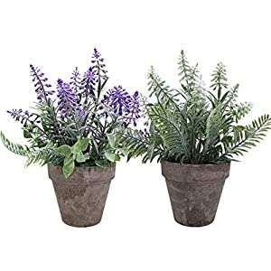 Artificial Potted Plants, CATTREE Plastic Lavender Shrubs Flowers Faux Grass Fake Leaves Greenery Home House Outdoor Indoor Garden Wedding Party Decoration Office Verandah UV Resistant – White Purple