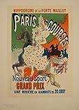 Póster clásico Art Nouveau de Jules Cheret 'Paris Courses Grand Prix Hippodrome de la Porte Maillot', Francia, 1890, con Les Maitres de l'Affiche Border, Reproducción 200 g/m²
