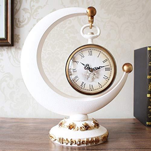 YH Kreative Retro Weißgold Büro Desktop Dekoration Tischuhr Harz Hause Wohnzimmer Schlafzimmer Stumm 360 ° Drehtisch Europäischen Uhr Dekoration Dekoration 32 * 39 cm