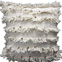 satTva Boho White Cushions Covers - Decorative Throw Pillow Covers For Living Room Sofa 45x45- 𝙷𝚊𝚗𝚍𝚖𝚊𝚍𝚎 Textured C...