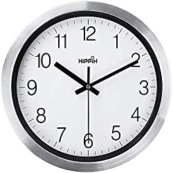 HIPPIH Wall Clocks Battery Operated Non Ticking, 12 in Modern Silver Decorative Silent Metal Wall Clock, Contemporary Wall Decor for Kitchen, Living Room, Bathroom, Bedroom, Office, Classroom