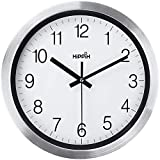 Silent Wall Clock 12 Inch Battery Operated Non-Ticking, Large Decorative Quiet Clock for Kitchen Home Office Wall Decor, Modern Battery Wall Clock for School Bathroom Living Room, Easy to Read