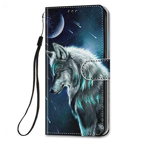 HopMore Funda para Xiaomi Poco X3 NFC/Poco X3 Pro Cuero con Tapa Silicona Dibujo Bonita Carcasa Xiaomi X3 NFC Billetera Resistente Estilo Libro Case Ranuras Tarjetas Cover Protectora - Wolf