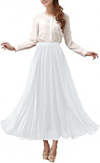 Afibi Womens Chiffon Retro Long Maxi Skirt Vintage Dress
