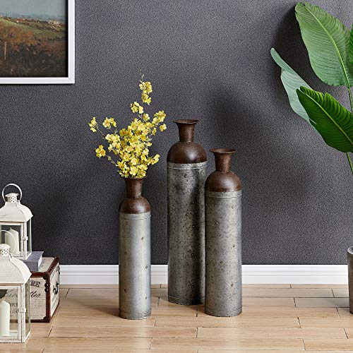 "FirsTime & Co. Barnyard Lane Galvanized 3 Vase Set, 34""H x 14""W, Silver, Rustic Brown, Antique Gold"