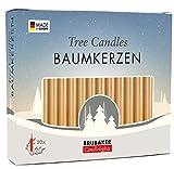 Brubaker - Bougies de Noël en Cire - Lot de 20 - Idéales pour Sapin & Pyramide de Noël - Ø 1,25 cm - Doré/Or