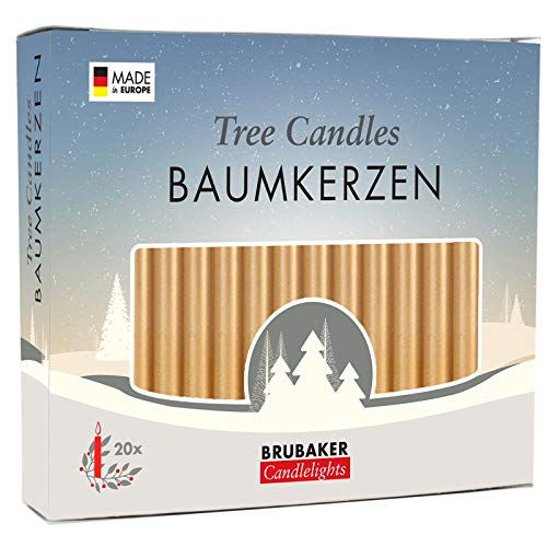 Brubaker 20er Pack Baumkerzen Wachs Weihnachtskerzen Pyramidenkerzen Christbaumkerzen Gold
