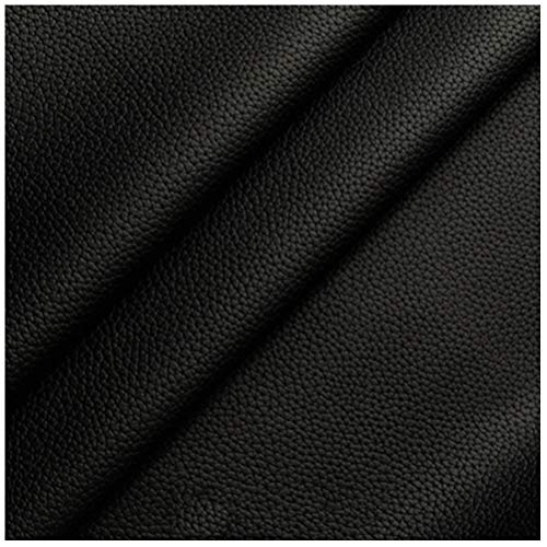 CPSH Faux Leather Fabric Vinyl Leathercloth Material 138cm Wide, Wear-resistant and Elastic Environmental Protection Leatherette Upholstery Fabric - Black (Size : 1.38x30m)