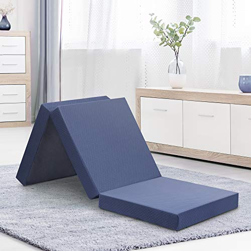 Olee Sleep Topper Tri-Folding Memory Foam Mattress, 4', Gray, foldable mattress,comfortable and compatible